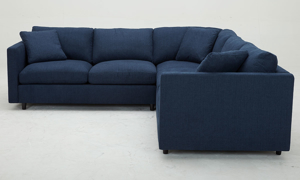 Family size sectional sofa with feather down cushions in navy upholstery - Side View