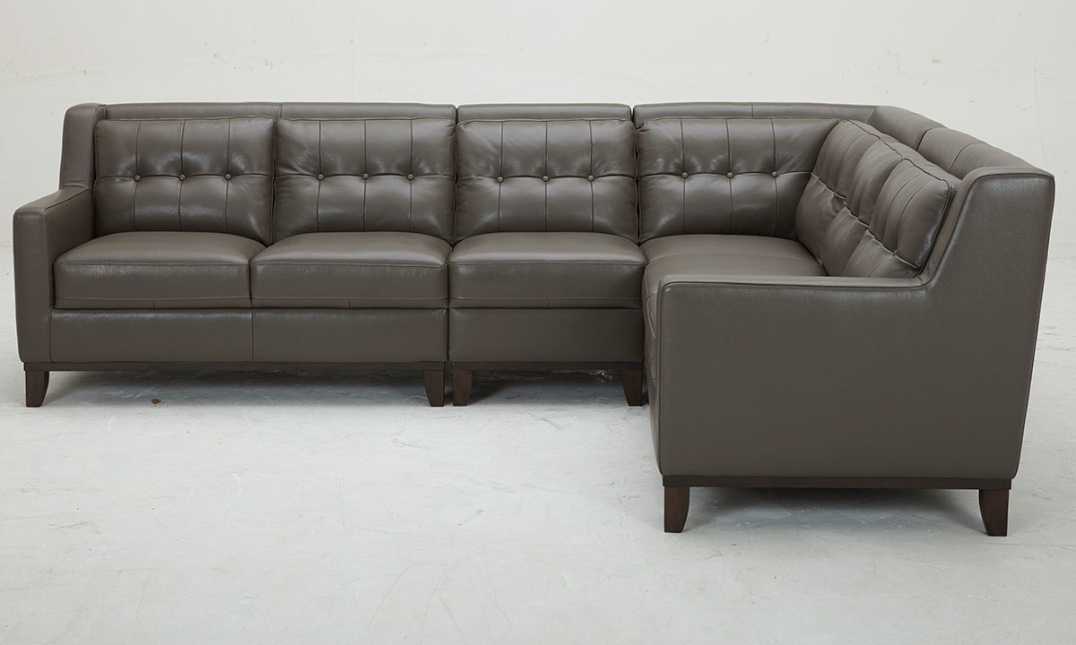 Mid-century grey sectional sofa with button tufting in grey leather with vinyl match - Side View