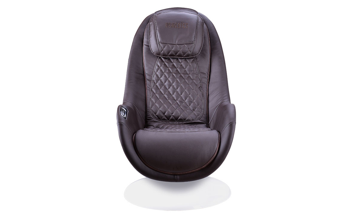 Modern massage chair in brown with quilting in white shell - Front View