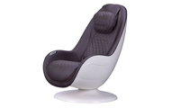 Cozzia Homedics Black Massage Chair with Quilted Pattern in White Shell  - Angled View