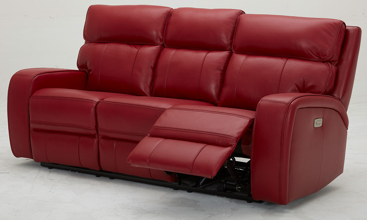Plush top-leather leather power sofa with dual recliners and power headrests in red - Recliner Open