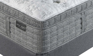 "King Koil 15"" Westminster Ultra Plush Mattress with HypurGel infused memory foam and tencel fabric - Closeup corner shot"