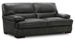 Modern 90-inch plush sofa in grey top-grain leather with feather down cushions
