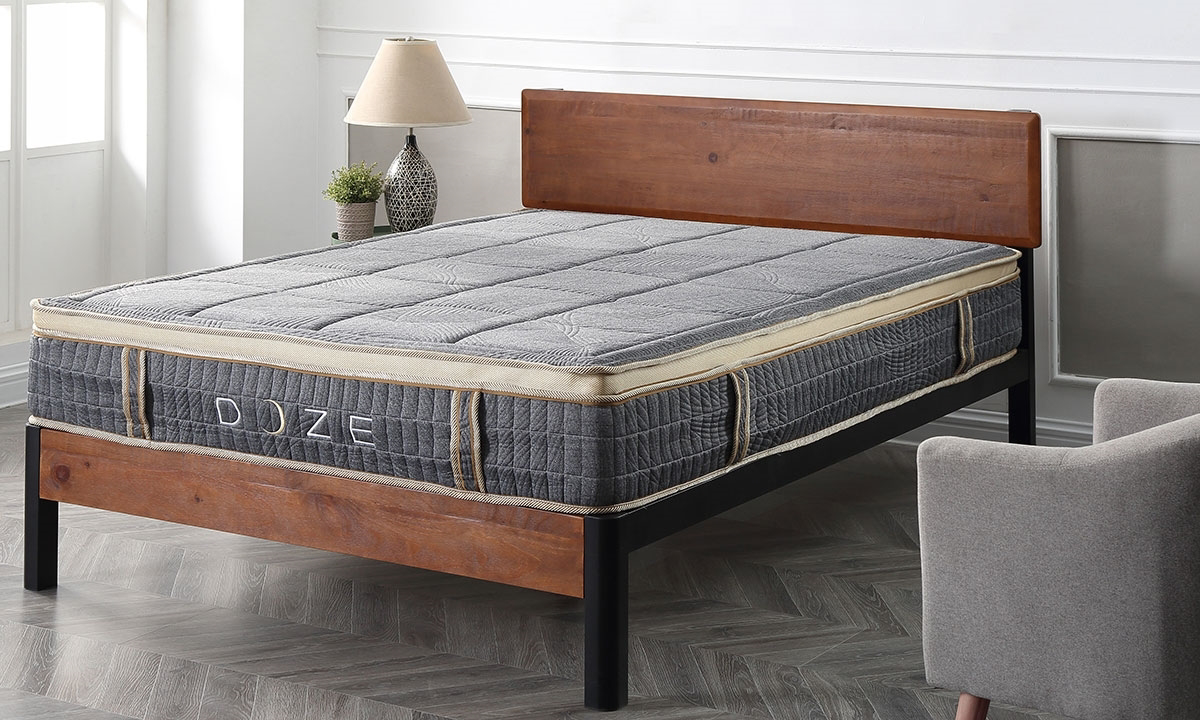 """11"""" pillow-top queen hybrid mattress with innerspring coils and memory foam from Classic Brands - Angled View"""