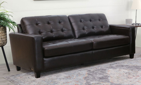 Abbyson Living Top Grain Leather Tufted Sofa
