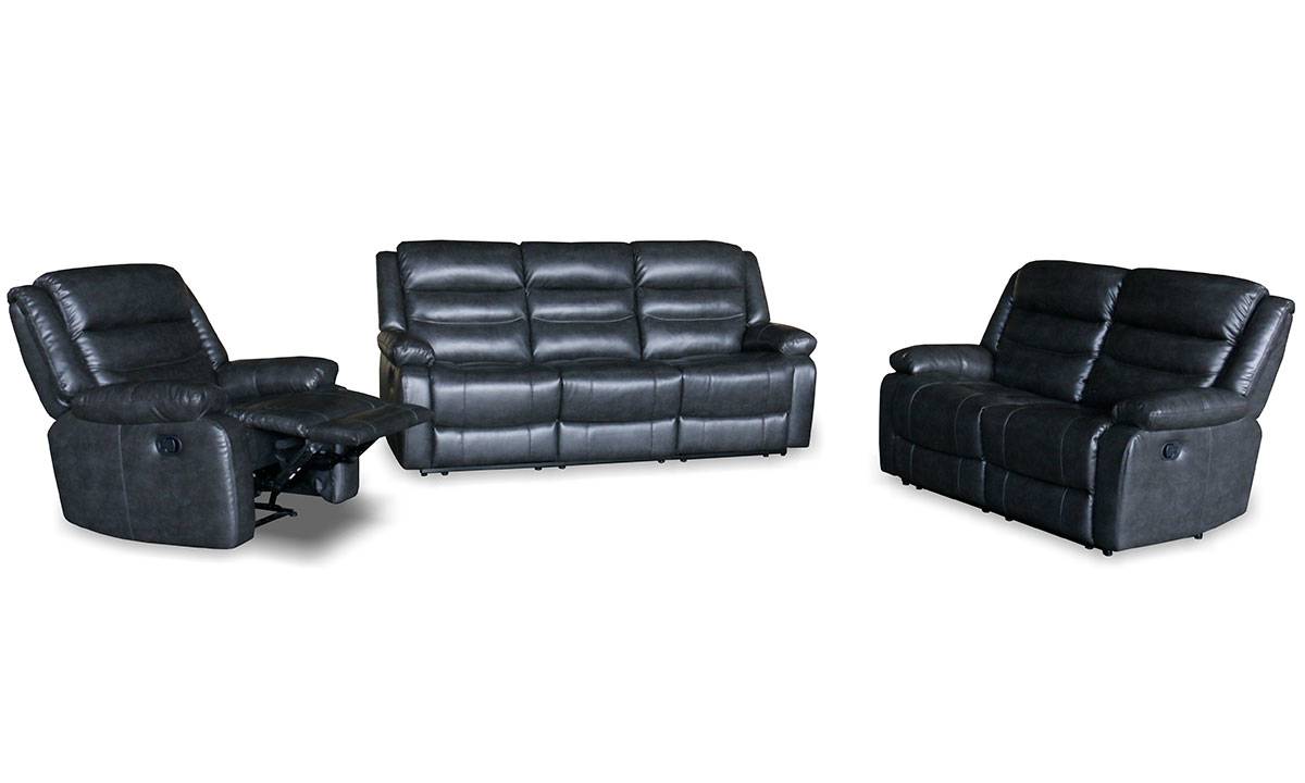 3-piece living room set in grey upholstery with double reclining sofa, double reclining loveseat and recliner chair