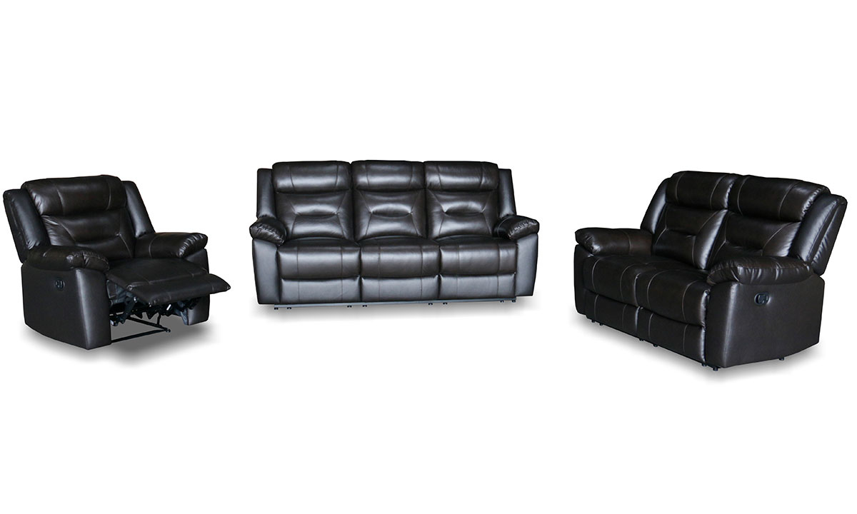 3-piece living room set in dark grey upholstery with double reclining sofa and loveseat and reclining chair.