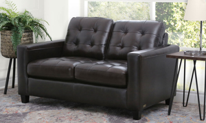 Abbyson Living Top Grain Leather Tufted Loveseat
