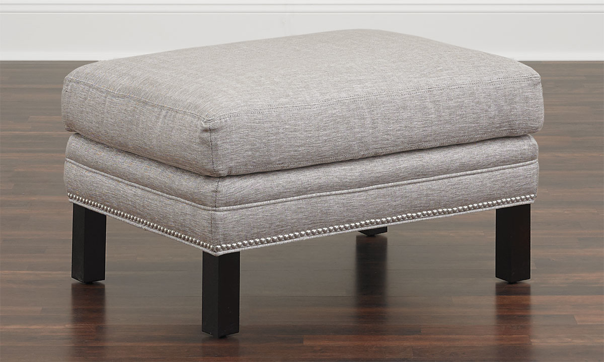 Classic tuxedo ottoman in gray herringbone upholstery with wood legs