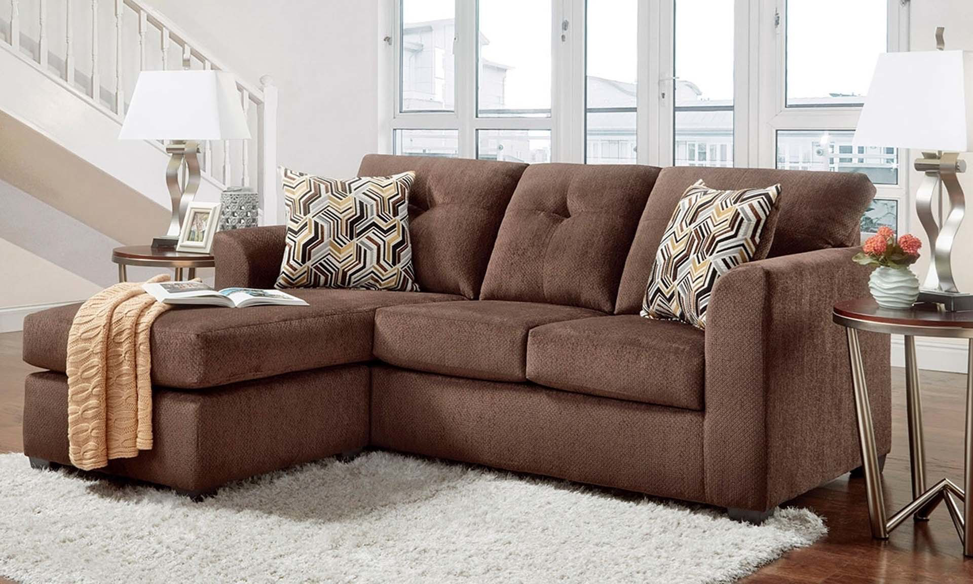 Sofa With Chaise In Chocolate Brown