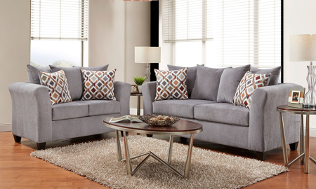 2-piece American-made living room set with sofa and loveseat in grey upholstery.