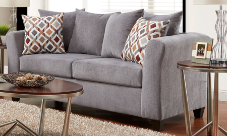 Casual American-made 86-inch pillow-back sofa in gray upholstery.