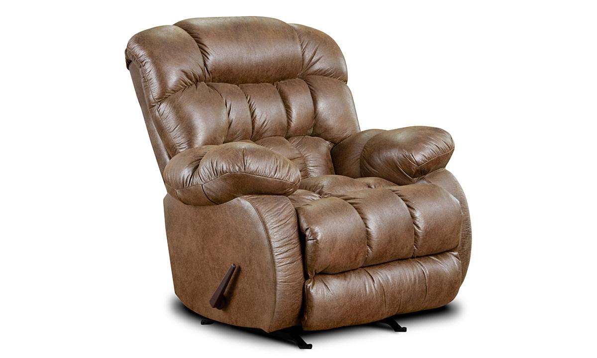 Overstuffed pillowback manual recliner with rocker in almond brown upholstery