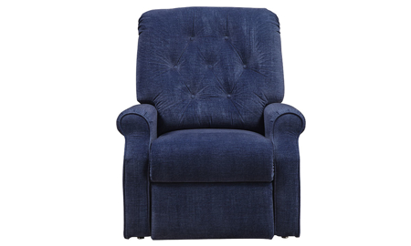 Power lift recliner with remote in soft blue fabric