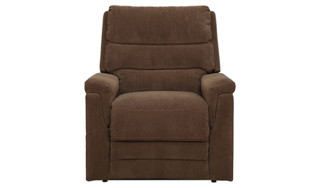 Plush recliner with power lift and triple waterfall back in coffee brown upholstery