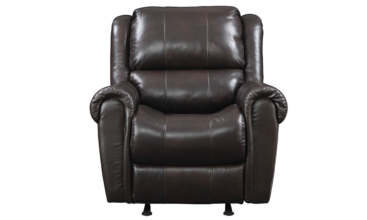 Manual recliner with and rocker with padded roll arms in chocolate brown top-grain leather