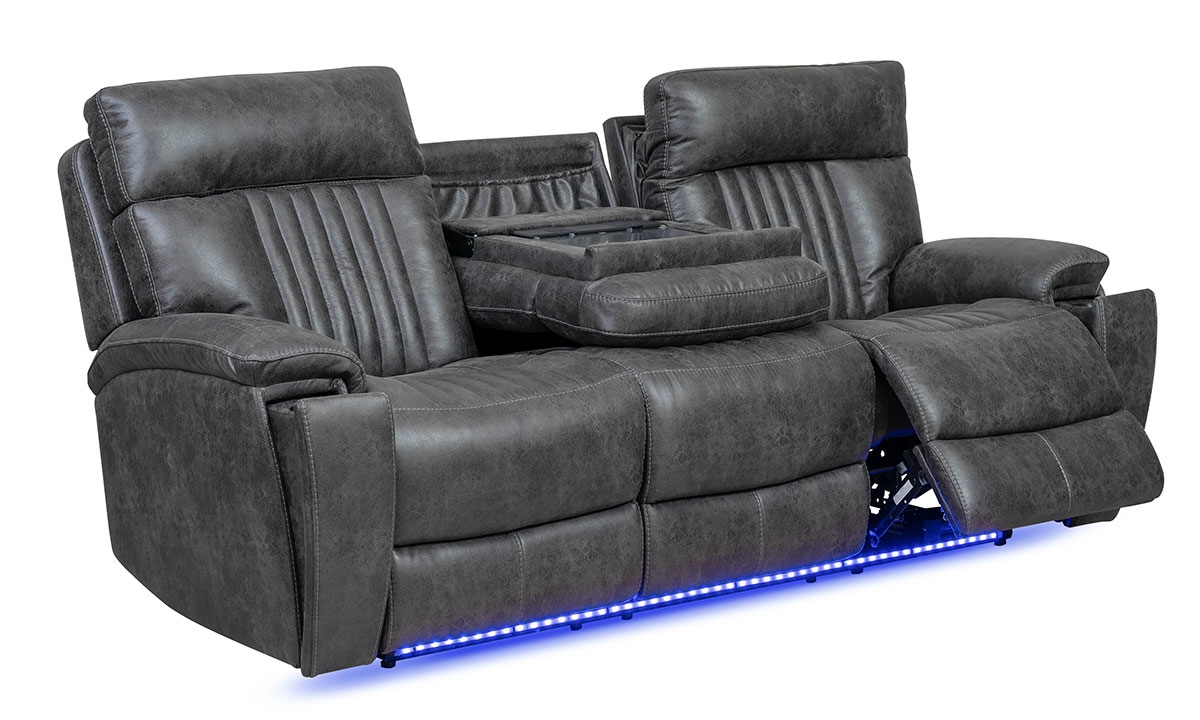 86-inch power theater sofa with touch screen controls, Bluetooth speakers, USB ports, dual recliners and LED lights in charcoal gray upholstery - Open Recliner