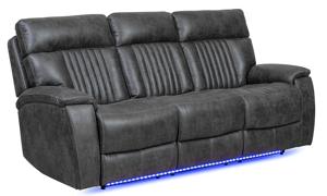 86-inch power theater sofa with touch screen controls, Bluetooth speakers, USB ports, dual recliners and LED lights in charcoal gray upholstery