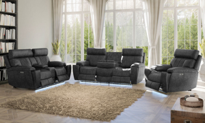 3-piece living room set with power recliners and headrests, Bluetooth speakers and hidden storage includes sofa, loveseat and chair in charcoal gray upholstery