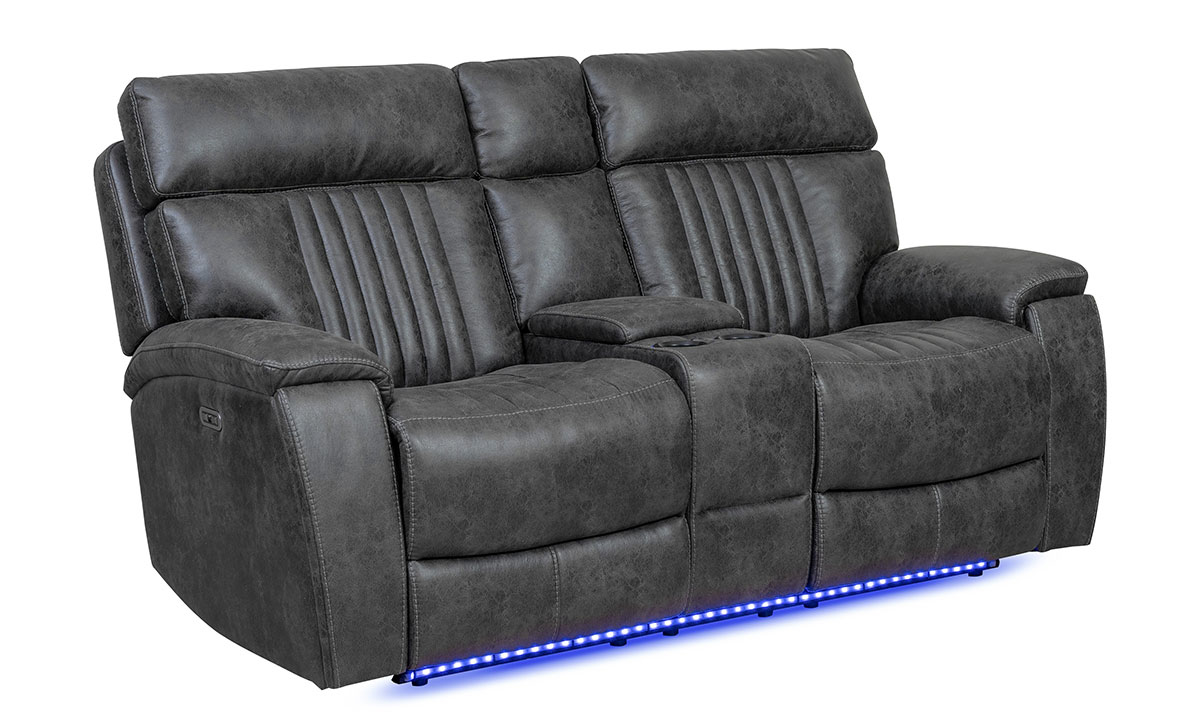 Power sofa with dual recliners, headrests, hidden storage, LED lights and touchscreen controls in charcoal gray upholstery