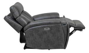 Power recliner with power headrest, cupholder and LED lights in charcoal gray upholstery	- Fully Reclined