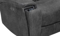 Closeup of cupholder on power theater loveseat with recliner in charcoal gray upholstery