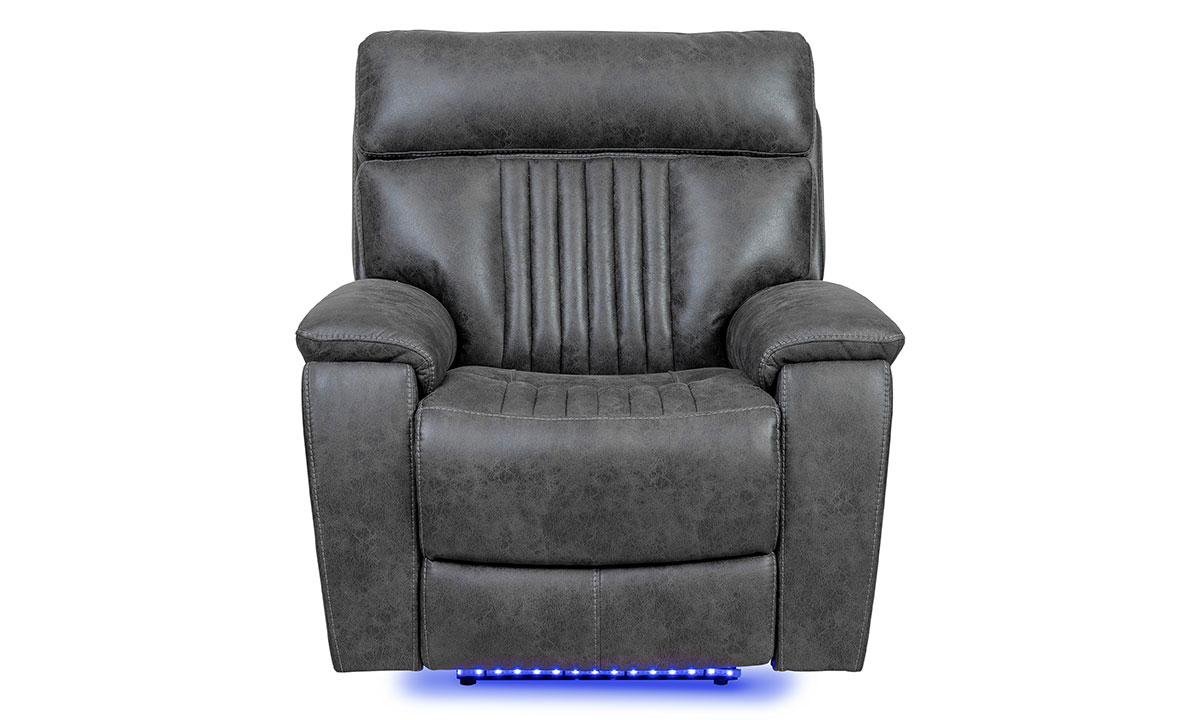 Power recliner with power headrest and hidden cupholder in charcoal gray upholstery - Front View