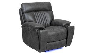 Power recliner with power headrest and hidden cupholder in charcoal gray upholstery - Recliner Closed