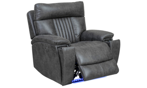 Power recliner with power headrest and hidden cupholder in charcoal gray upholstery - Recliner Open