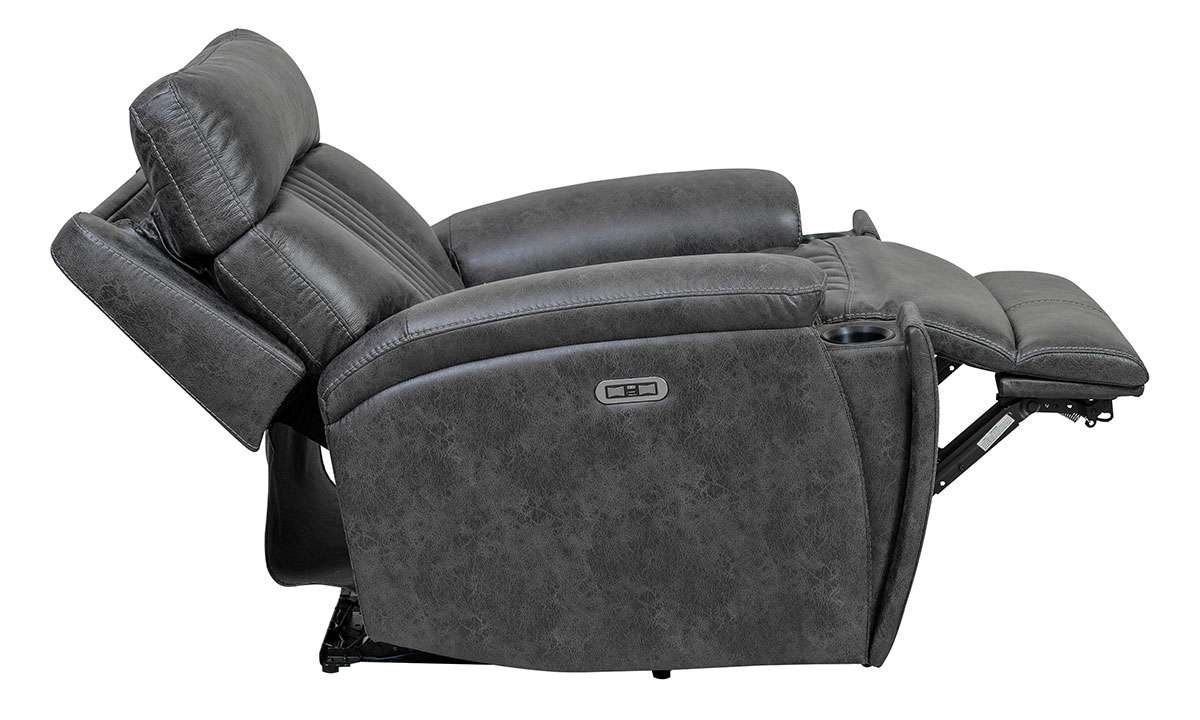 Power recliner with power headrest and hidden cupholder in charcoal gray upholstery - Lay Flat Recline