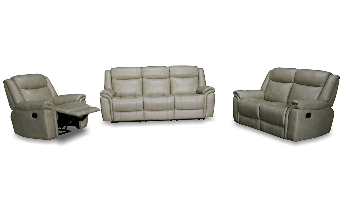 3-piece living room set with reclining sofa, loveseat and recliner chair in shell beige top grain leather