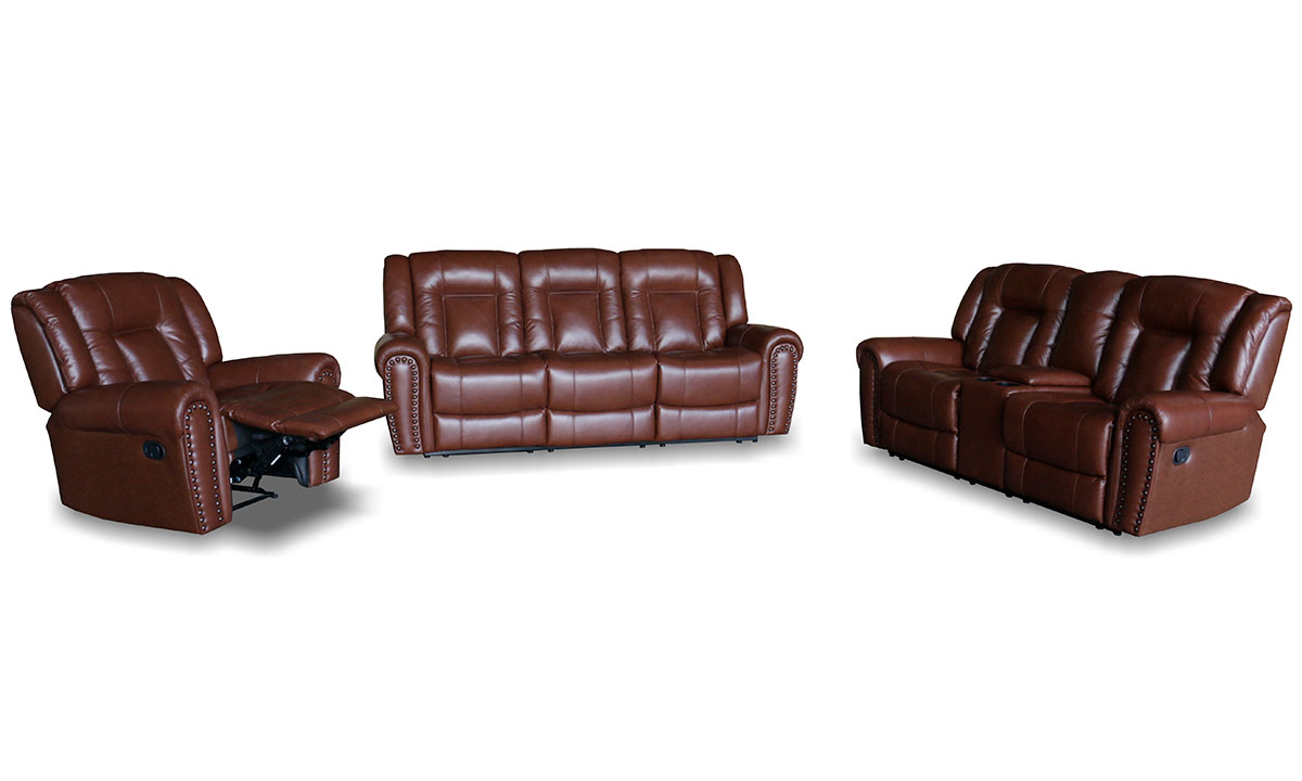 - Chocolate Top Grain Leather Reclining 3-Piece Living Room Set