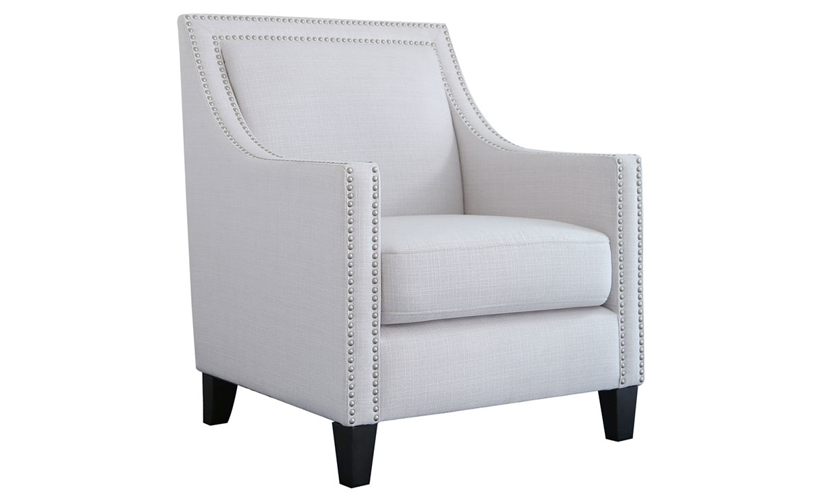 Modern club chair with nailhead trim and wood legs in ivory upholstery