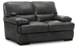 Modern 67-inch loveseat with plush feather down cushions in grey top-grain leather