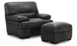Modern top-grain leather plush armchair with feather down cushions in grey