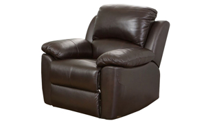 Plush recliner with pillowtop arms in brown top-grain leather in sihouette