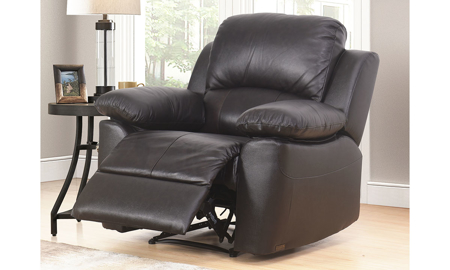 Plush recliner with pillowtop arms in brown top-grain leather with recliner open