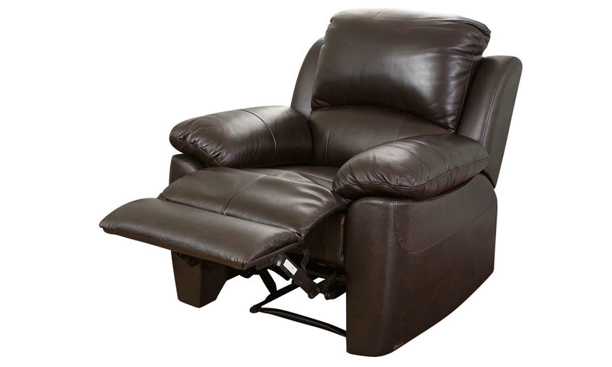 Plush recliner with pillowtop arms in brown top-grain leather with recliner open in silhouette