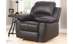Plush recliner with pillowtop arms in brown top-grain leather