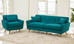2-piece modern sofa set with sofa and chair in teal linen-like upholstery with button tufting and matching pillows