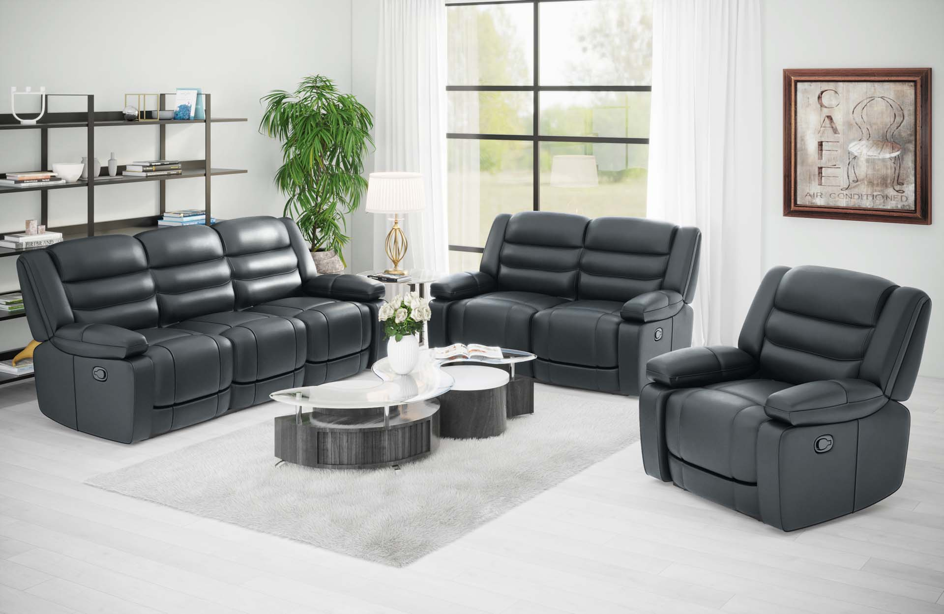 Grey Leather Reclining 3 Piece Living Room Set The Dump Luxe Furniture Outlet