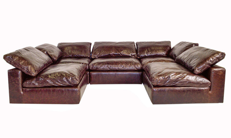 Luxury 5-piece modular sectional sofa with pillow back cushions in brown top grain leather