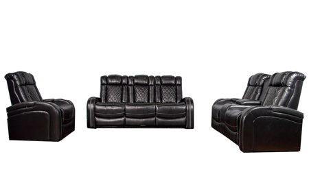 3-piece power reclining theater set in black top grain leather with sofa, loveseat and chair with cup holders, LED lights and USB charging