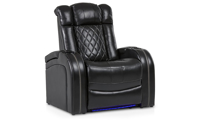 Quilted power reclining theater chair in black top grain leather with storage and LED lights