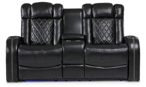 Transformer power reclining theater loveseat with storage, cupholders and LED lights in black top grain leather