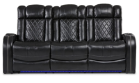 Transformer power reclining theater sofa with storage, cupholders and LED lights in black top grain leather
