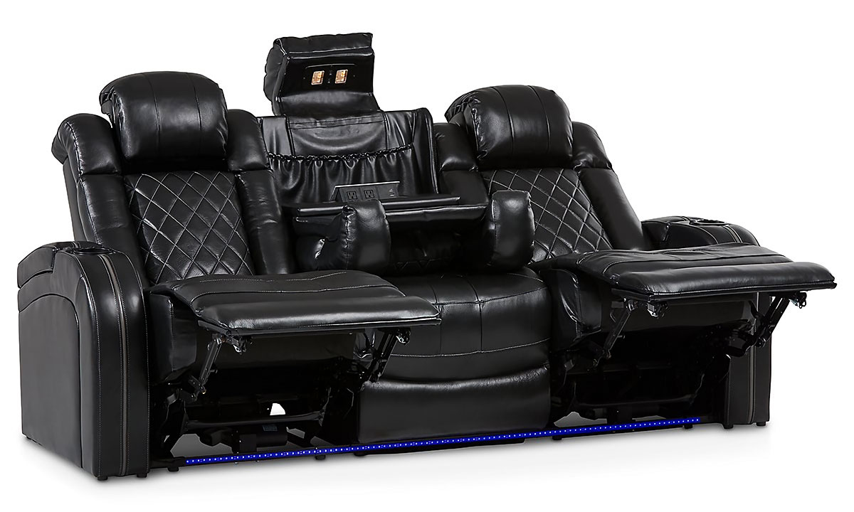 Transformer power reclining theater loveseat with storage, cupholders and LED lights in black top grain leather	- Fully opened and reclined