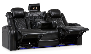 Transformer power reclining theater loveseat with storage, cupholders and LED lights in black top grain leather- Fully opened and reclined