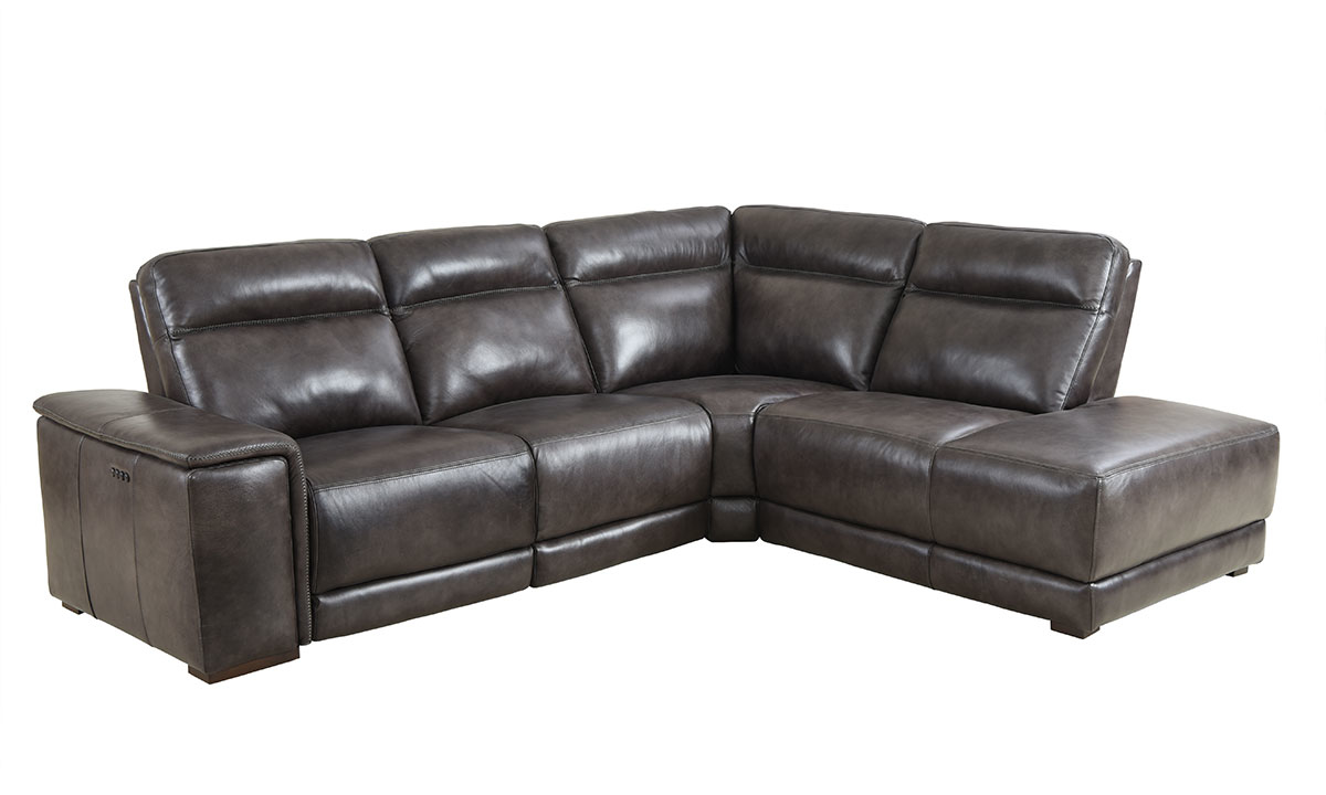 Contemporary sectional with chaise, dual power recliners and power headrests in grey top-grain leather