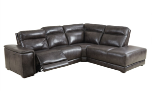 Contemporary sectional with chaise, dual power recliners and power headrests in grey top-grain leather with open recliner	and headrest recline